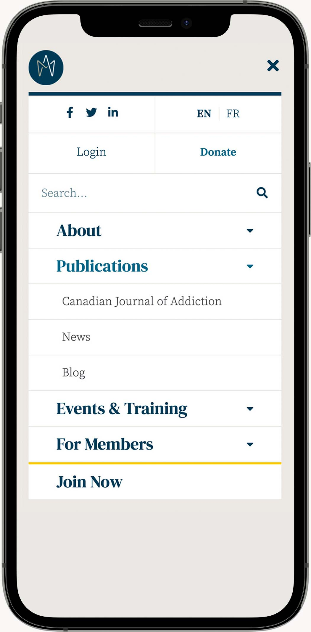 CSAM-SMCA Mobile Homepage Mock-up
