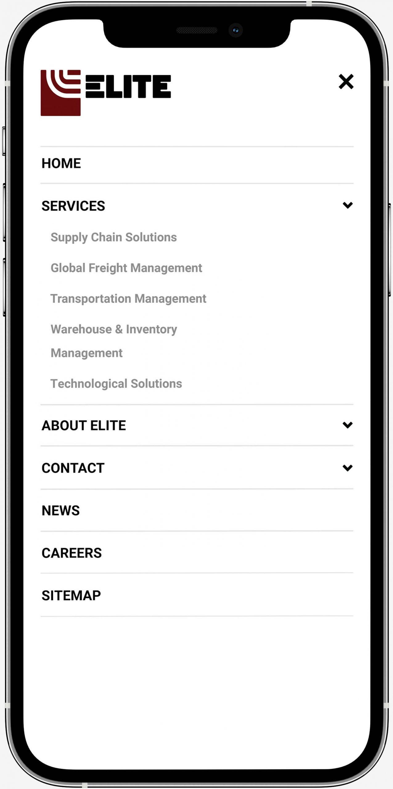 elite trax mobile menu